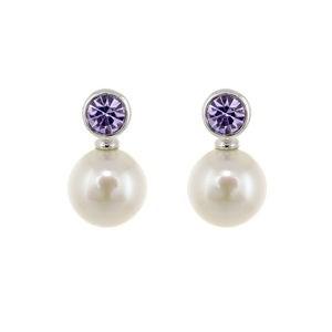 Boucles d\'oreilles perles cultivées en pierre lilas