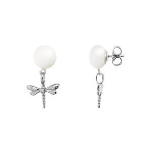 CULTURED PEARL EARRINGS AND DRAGONFLY