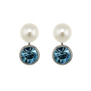 EARRINGS BLUE ZIRCONIA CULTIVATED PEARL