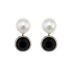 EARRINGS BLACK ZIRCONIA CULTIVATED PEARL