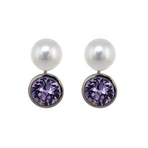 EARRINGS VIOLET ZIRCONIA CULTIVATED PEARL