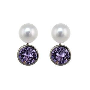 Pendientes perla cultivada zirconita violeta