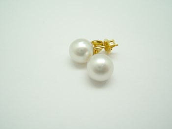 PEARL AUSTRALIAN 9 MM EARRINGS WITH YELLOW GOLD MOUNTING. B-910-2-AUSTRALIAN B-79 B-910-2-Australiana