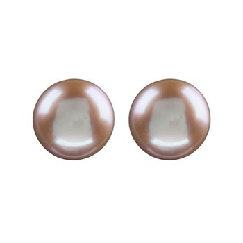 PEARL EARRINGS PINK BUTTON AND SILVER LAW