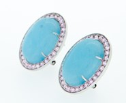 EARRINGS COMPLIMENT SILVER AND BLUE CHALCEDONY 10315 Piropo