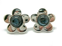 WITH MONTANA BLUE STONES STERLING SILVER EARRINGS B-79 AR-874