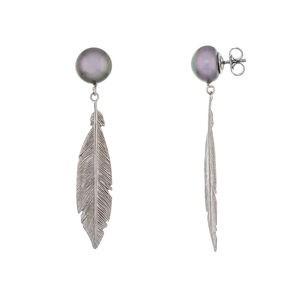 Pendientes plata con pluma y perlas cultivadas grises