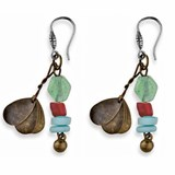 EARRINGS SILVER STICK HOOK GLASS PAINTED BRONZE RE3 Plata de palo TE3