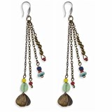 STICK HOOK BRONZE RE8 PAINTED GLASS STERLING SILVER EARRINGS Plata de palo TE8