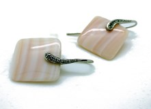 STONES STERLING SILVER EARRINGS PINK LUXENTER 1258