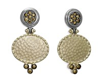EARRINGS STERLING SILVER BATH GOLD ZIRCONITAS COLOR CHAMPAGNE 9150PD Marina Garcia