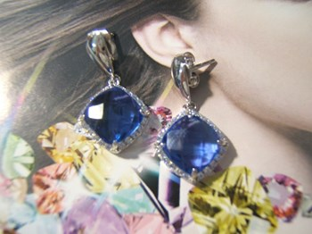 EARRINGS SILVER AND CUBIC ZIRCONIA WITH BLUE QUARTZ IMITATION