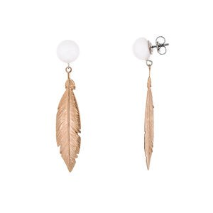 SILVER FEATHER EARRINGS PINK & WHITE CULTURED PEARLS
