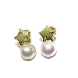 Preciosos pendientes desmontables con diamantes de 0.04cts y 2 perlas cultivadas Never say never