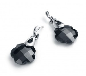 Viceroy of silver and black crystal earrings
