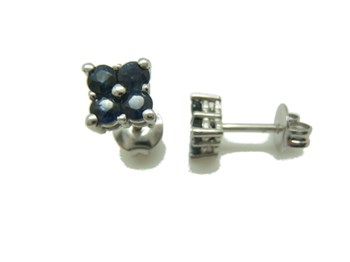 Earrings white gold and sapphire blue B-79 B-328