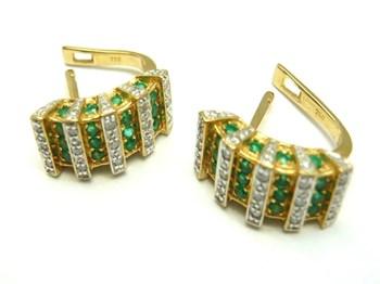 Pendientes de oro y diamantes y esmeraldas PE3400654