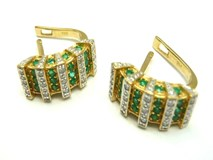 EARRINGS OF GOLD AND DIAMONDS AND EMERALDS PE3400654