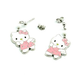 EARRINGS, SILVER, GIRL, HELLO KITTY P-OA1