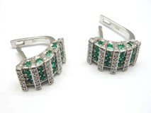 EARRINGS GOLD AND DIAMONDS AND EMERALDS PE146950