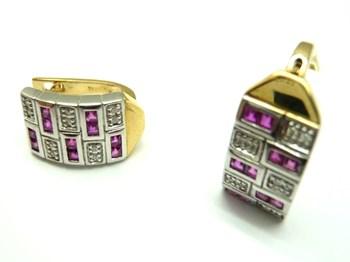 Pendientes de oro blanco y amarillo, diamantes y rubies PE3400652