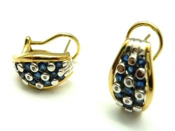 Blancs et jaunes or, diamants et saphirs PE3400662 boucles d\'oreilles