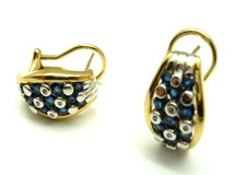 WHITE AND YELLOW GOLD, DIAMONDS AND SAPPHIRES PE3400662 EARRINGS