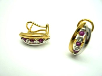 EARRINGS OF GOLD WHITE AND YELLOW, DIAMOND AND RUBY PE3400676