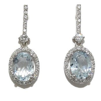 EARRINGS WITH 0.40 CTS OF BRILLIANT CUT DIAMONDS AND 2 MARINE WATERS FINE OVAL CUT OF 2.52 CTS NEVER SAY NEVER
