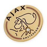 PIN WITH MOTIVE OF AJAX AMSTERDAM MADE IN YELLOW GOLD, 750 THOUSAND�SIMAS (18KT) WITH ENAMEL TEAM COLORS AND A DIAMOND BRILLIANT CUT CENTRAL 0.04 KTS.