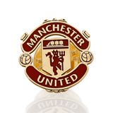 PIN WITH MOTIVE OF MANCHESTER UNITED MADE IN YELLOW GOLD, 750 THOUSAND�SIMAS (18KT) WITH ENAMEL TEAM COLORS