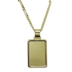 Placa de Oro Amarillo de 18k Lisa de 2.60 por 1.80cm con Cadena barbada de 60cm Never say never