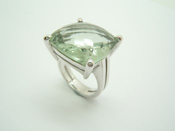 RING SILVER AND PRASIOLITE TO-81/97-18 B-79 A-81/97-18