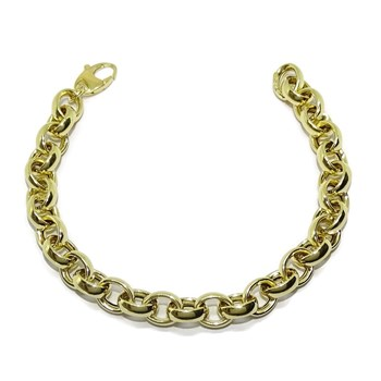 BEAUTIFUL BRACELET FOR WOMAN, 18K YELLOW GOLD TYPE ROLO 8MM WIDE AND 19.00 CM LONG NEVER SAY NEVER