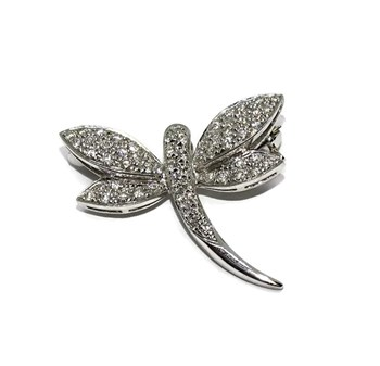 BEAUTIFUL BROOCH IN THE SHAPE OF LIB�LULA IN 18K WHITE GOLD AND 0.37 CTS OF DIAMONDS. NEVER SAY NEVER
