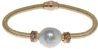 GOLD STEEL BRACELET AND PEARL BR.1BRS/4 LUCA LORENZINI