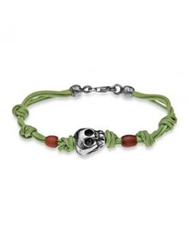 Crâne de bâton argent bracelet PULERA fils de CAB7DT19 vert Plata de palo CAB7DT20
