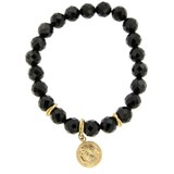 BRACELET WITH STONES, ONYX AND GOLD MEDAL