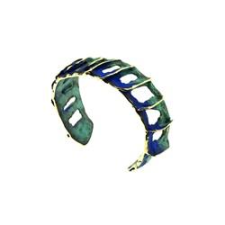 Pulsera abierta y ajustable, en bronce, patinada en verde y azul.  FP P43-BVA Fili Plaza