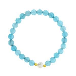 Pulsera ágata azul perla cultivada y plata 15-4067