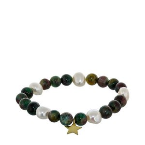 CULTURED PEARLS AND GREEN AGATE BRACELET