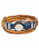 BRACELET BROWN SUEDE DENIM SILVER BRONZE RESIN STYLE BONE CB26CT20 SILVER STICK Plata de palo