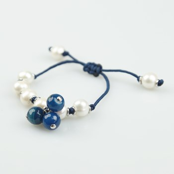 BRACELET KNOTTED WHITE PEARL AND BLUE AGATE FPU54E PATRICIA GARCIA