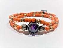 BRACELET BALLS ORANGE BRONZE SILVER CUBIC ZIRCONIA PURPLE CB3FT21 SILVER OF PALO Plata de palo