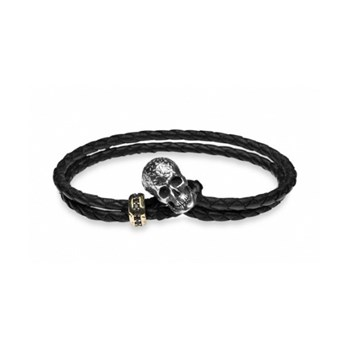BRACELET SILVER BRONZE BROWN CUBIC ZIRCONIA L22T21 SILVER STICK BLACK LEATHER SKULL Plata de palo