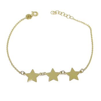 BRACELET WITH 3 STARS ALL IN 18K YELLOW GOLD. 19.50 CM WITH LOCKING IN VARIOUS POSITIONS. NEVER SAY NEVER