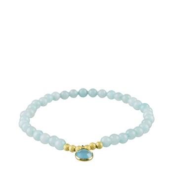 Bracelet agate et aigue-marine charme