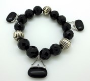 BRACELET WITH SILVER AND JET BALLS
