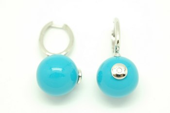 Earrings with enameled silver PE147035 dial Alex Ball