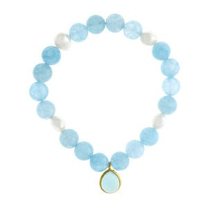 Quartz bleu perle Baroque et bracelet argent